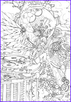 Steampunk Coloring Page for Adults Cool Images Adult Coloring Book Steampunk Coloring Book