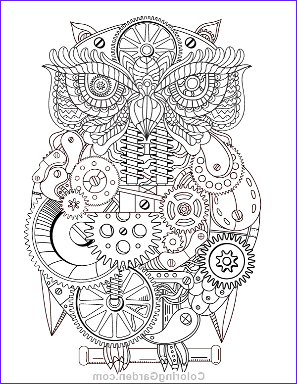 Steampunk Coloring Page for Adults Elegant Images Steampunk Owl Adult Coloring Page
