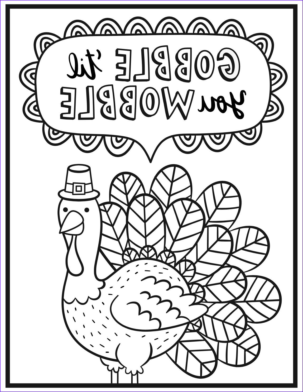 Thanksgiving Coloring Picture Free Printables Cool Gallery An Adult Coloring Page For Thanksgiving
