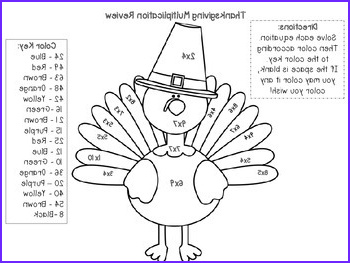 Multiplication Color by Number Thanksgiving theme