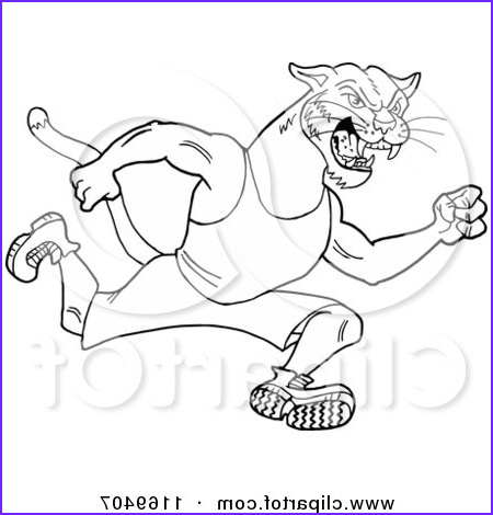 outlined running cougar track and field mascot