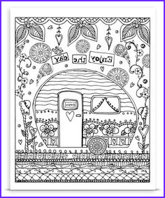 Travel Adult Coloring Book Awesome Images Instant Download Whimsical Travel Trailers Home is