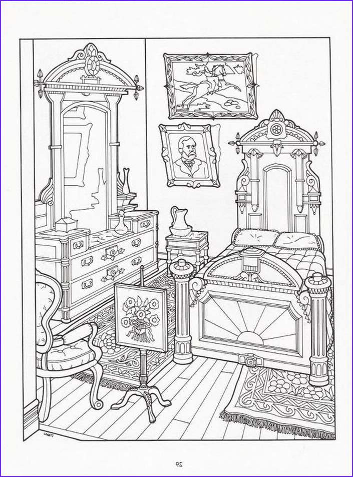 Victorian House Coloring Page Cool Gallery Realistic Bedroom Of Victorian House Detailed Coloring