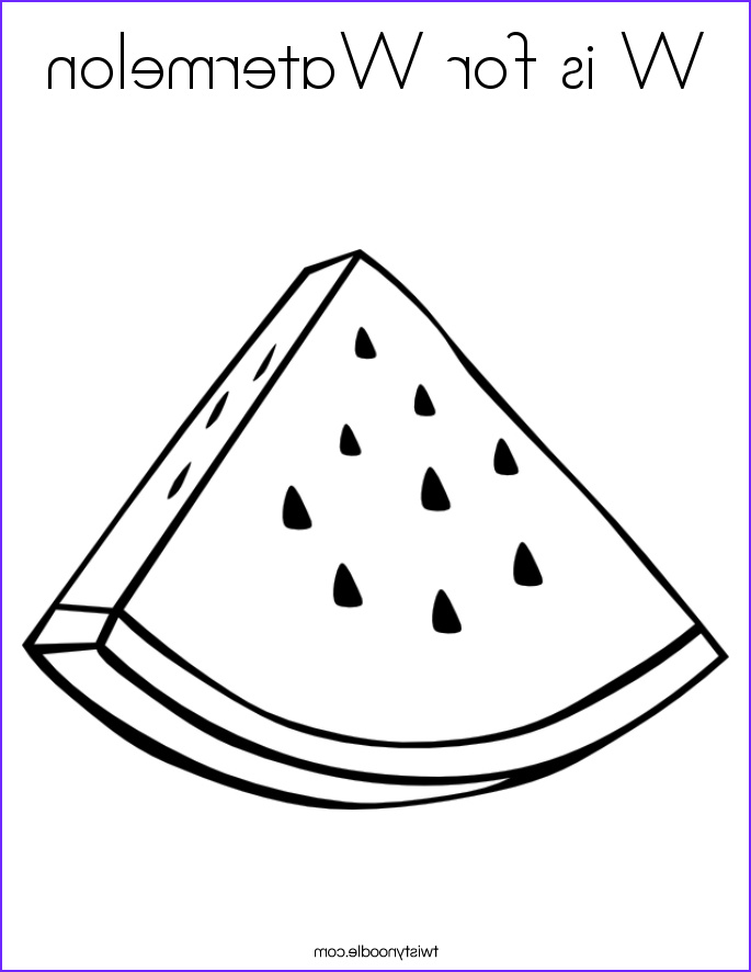 w is for watermelon 3 coloring page