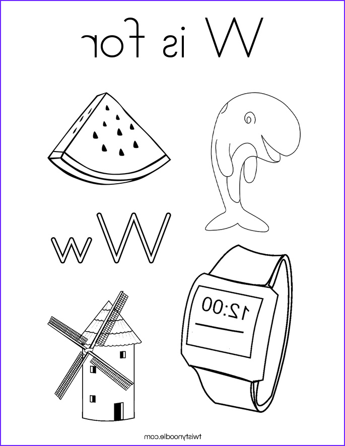 w is for 3 coloring page