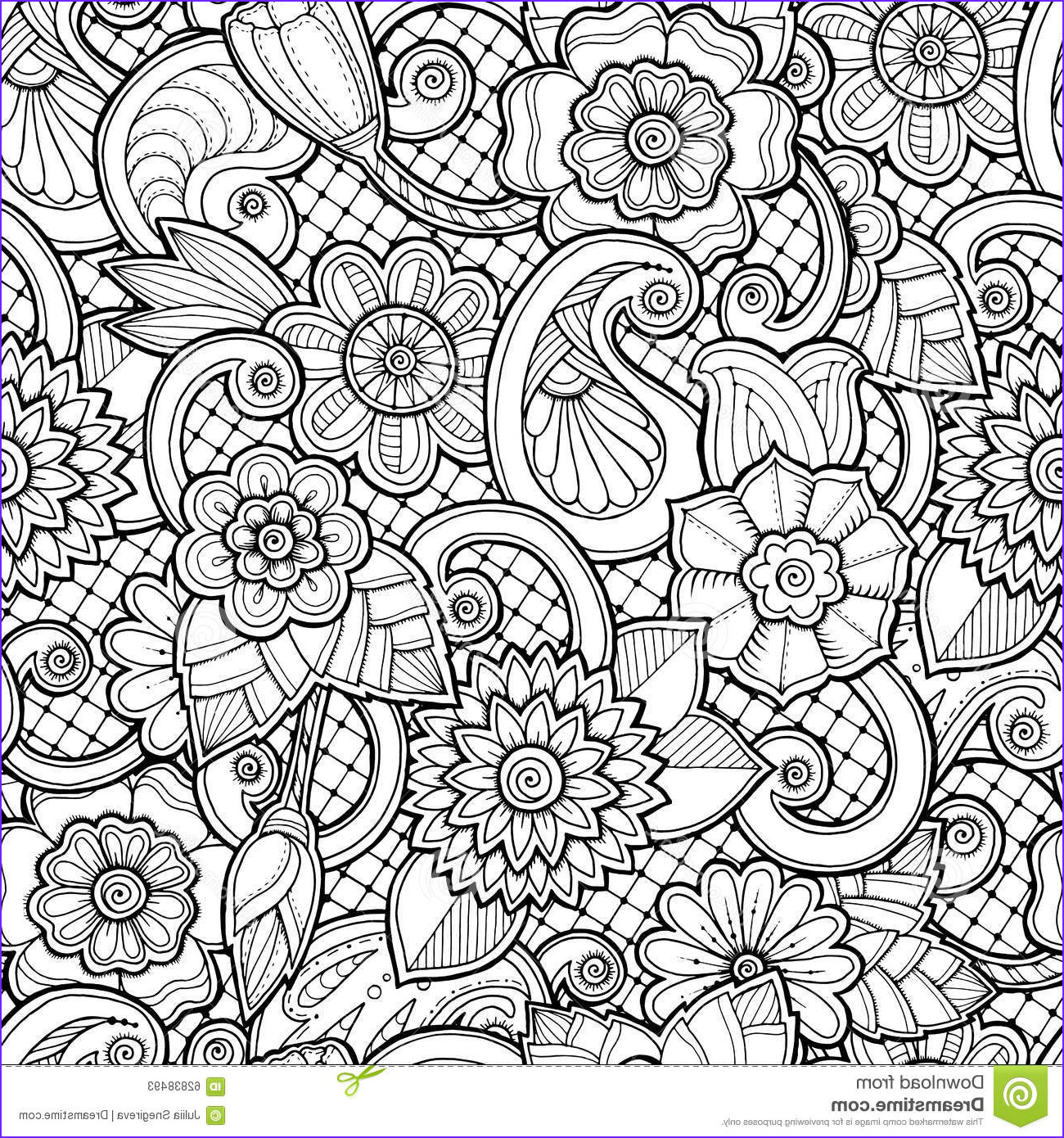 stock illustration seamless background vector doodles flowers paisley doodle ethnic pattern can be used wallpaper pattern image