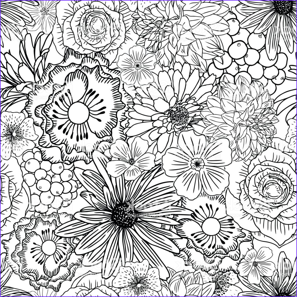 doodle floral drawing seamless pattern wallpaper art therapy coloring page for gm