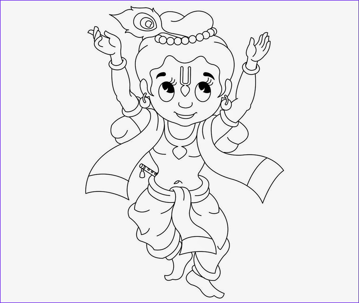 little krishna for kid coloring page