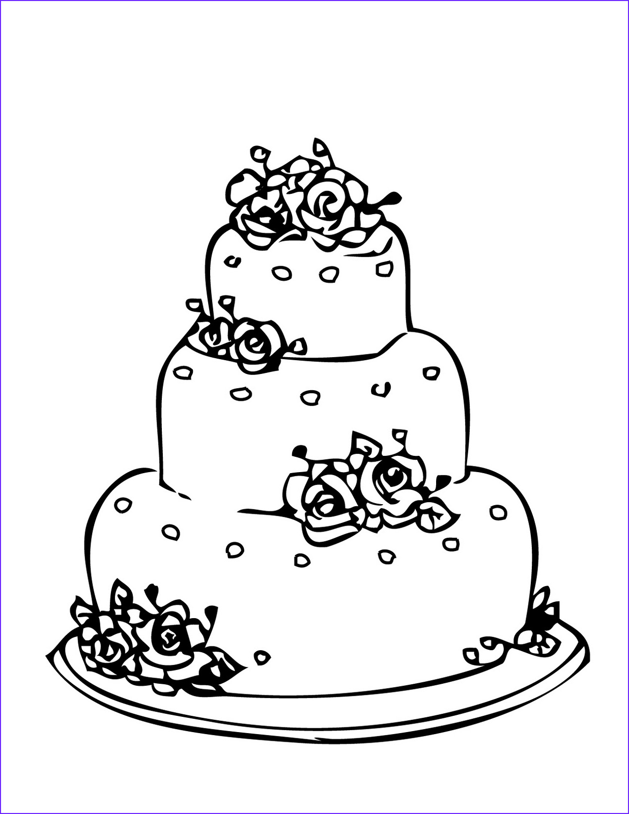 Wedding Cake Coloring New Photos Wedding Cake Coloring Page For Drawing 1