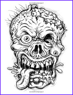 Zombie Adult Coloring Book Elegant Collection Vector Of A Detailed Zombie Head Zombie Art
