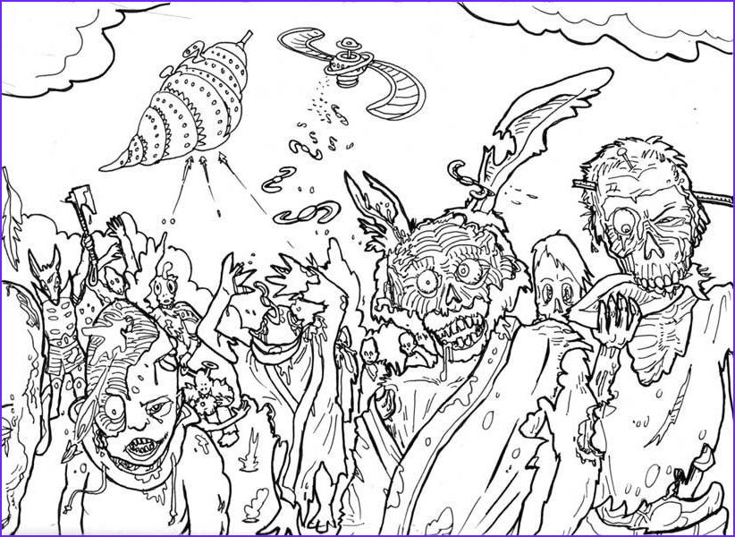 scary zombie coloring pages